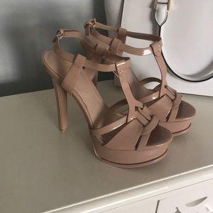Aldo patent tan heels
